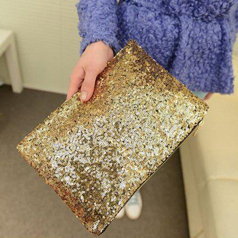 Chic New Fashion Style Women's Sparkle Spangle Clutch Evening Bag - GOLDEN  Mobile