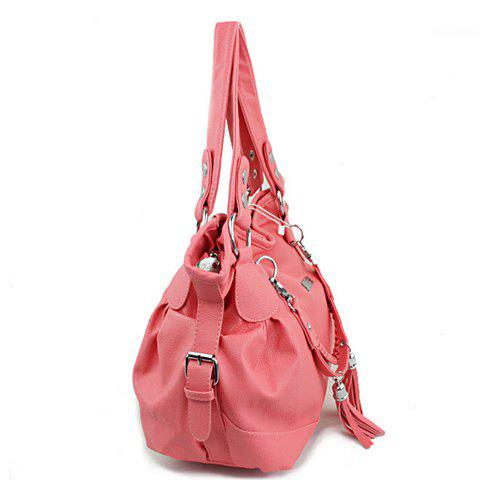 Store Casual Tassels and Solid Color Design Women's Shoulder Bag - WATERMELON RED  Mobile