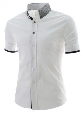 Casual Style Color Block Print Turn-down Collar Slimming Short Sleeves Men's Polyester Shirt - White - Xl
