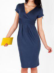 Solid Color Ruched Short Sleeve V-Neck Pullover Women's Maternity Dress -