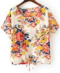 Fashionable Scoop Collar Short Sleeve Floral Print Drawstring Women's T-Shirt -