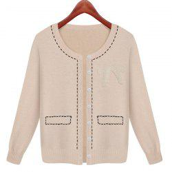 Casual Style Faux Pearl Embellished Cotton Knited Long Sleeve Women's Cardigan -