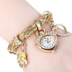 01457 Stylish Quartz Heart Dial Watch with Flower and Heart Alloy Chain Watch Band for Women