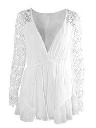 Stylish Plunging Neckline Lace Splicing 3/4 Sleeve Romper For Women -