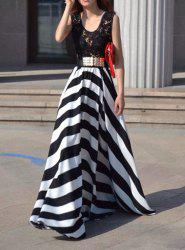 A Line Striped Lace Panel Maxi Prom Dress - WHITE AND BLACK