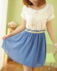 Sweet Peter Pan Collar Short Sleeve Lace Spliced Chiffon Women's Dress -
