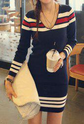 Casual Style V-Neck Long Sleeve Striped Splicing Women's Sweater Dress - DEEP BLUE