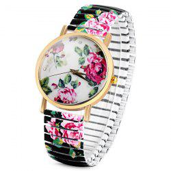 Fashional Quartz Watch with Pointer Display Peony Round Dial Elastic Watchband for Women - BLACK