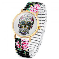 Simply Quartz Watch Halloween Gift with Pointer Display Skull Pattern Round Dial Elastic Watchband for Women -