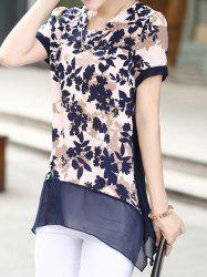Print Design Notched Roll Collar Short Sleeve Chiffon Women's Blouse -