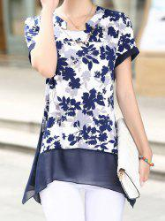 Print Design Notched Roll Collar Short Sleeve Chiffon Women's Blouse