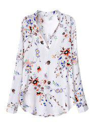 Fashionable V-Neck Floral Print Long Sleeve Women's Blouse