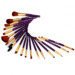 19PCS High-end Dresser Basic Brush Collection Cosmetic Blush Brush Full Coverage Face Brush Make-up Brush Tool - PURPLE