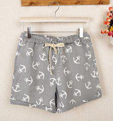 Drawstring Rolled-Up Anchor Print Shorts - GRAY