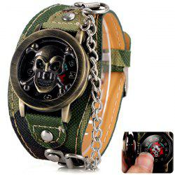 Luxury Flip Skull Head Cover Quartz Wrist Watch with Analog Leather Watchband + Chain for Men