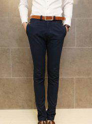 Simple Style Zipper Fly Button Embellished Solid Color Slimming Straight Leg Men's Cotton Blend Pants