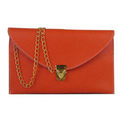 New Fashion Women's Golden Chain Envelope Purse Clutch Synthetic Leather Handbag Shoulder Bag Dinner Party - ORANGE