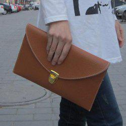 New Fashion Women's Golden Chain Envelope Purse Clutch Synthetic Leather Handbag Shoulder Bag Dinner Party - BROWN