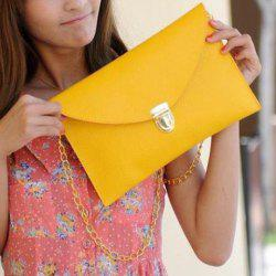 New Fashion Women's Golden Chain Envelope Purse Clutch Synthetic Leather Handbag Shoulder Bag Dinner Party - YELLOW