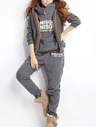 Women Autumn Stylish Hoodies Suit Thickening Sports Hoodie Hoody + Pant + Vest 3pcs - GRAY