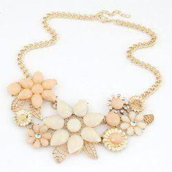 Fashion Resin Rhinestone Flower Pendant Necklace For Women -