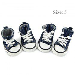 2 Pairs Nonslip Doggy Blue Denim Pet Sneakers