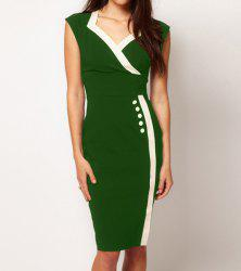 Bodycon manches Spliced ​​Color Block Dress - Vert