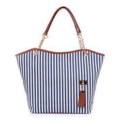 Women's Striped Canvas Tote Shoulder Bag Chain Handbag