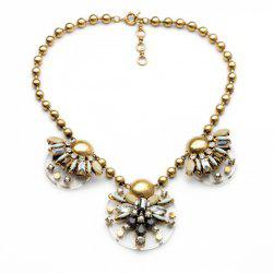 Vintage Geometric Faux Gem Embellished Floral Pendants Beads Necklace For Women -