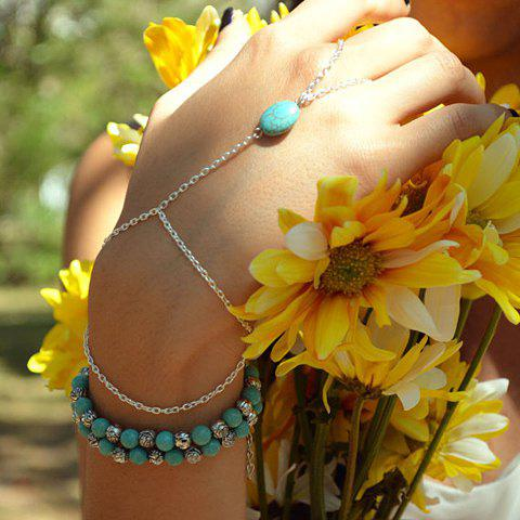 New Fashion Turquoise Decorated Bracelet With a Ring For Women