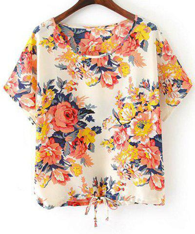 Shops Fashionable Scoop Collar Short Sleeve Floral Print Drawstring Women's T-Shirt