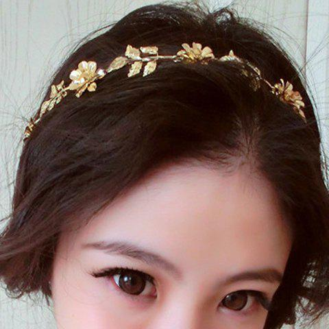 Online Elegant Diamante Flower and Leaf Pattern Hairband For Women