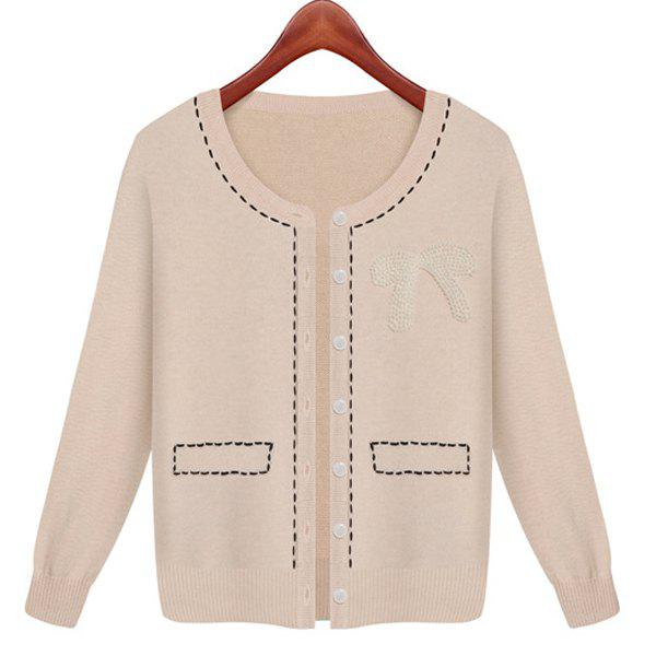 Fancy Casual Style Faux Pearl Embellished Cotton Knited Long Sleeve Women's Cardigan
