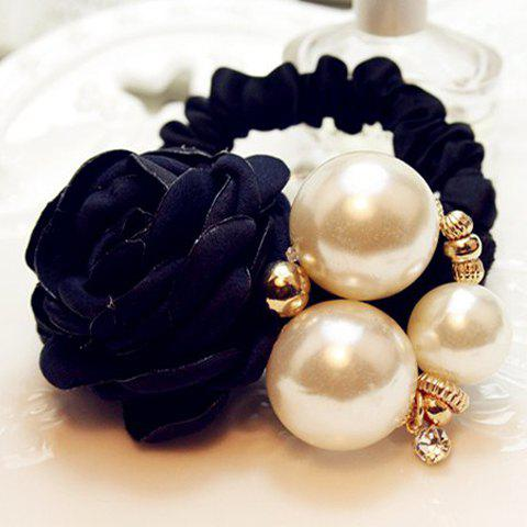 Fashion Fashion Flower With Pearl Elastic Hair Band For Women
