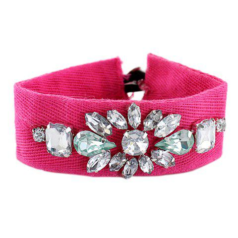 Hot Chic Faux Crystal Decorated Flower Pattern Wide Bracelet For Women