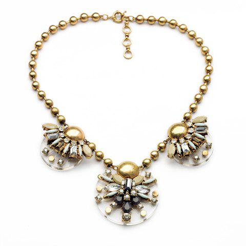 Fashion Vintage Geometric Faux Gem Embellished Floral Pendants Beads Necklace For Women
