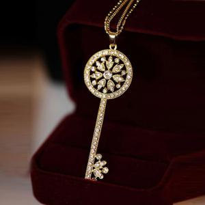 One Piece of Chic Heart Rhinestone Key Pendant Sweater Chain Necklace For Women - RANDOM COLOR PATTERN