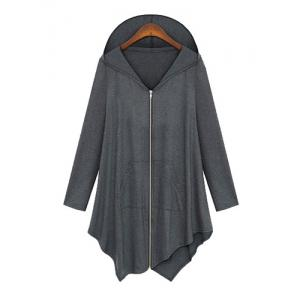Stylish Hooded Long Sleeve Asymmetrical Zippered Women's Coat