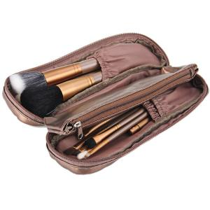 12Pcs Naked Makeup Brushes Soft Cosmetic Face Brush Kit with Zippered Leather Pencil Bag -