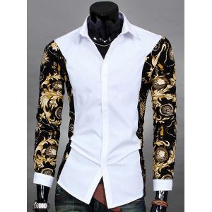 Trendy Slimming Turn-down Collar Long Sleeves Floral Print Splicing Men's Cotton Blend Shirt