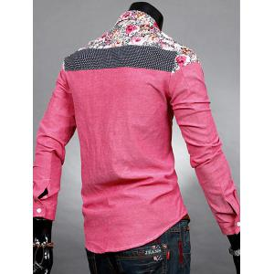 Trendy Slimming Long Sleeves Turn-down Collar Colorful Floral Print Splicing Shoulders Men's Cotton Blend Shirt -