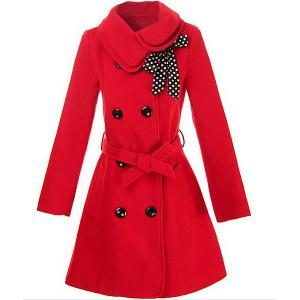 Stylish Turn-Down Collar Long Sleeve Solid Color Coat For Women