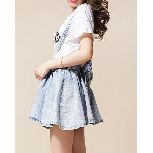 High-Waisted Bow Tie Embellished Bleach Wash Women's Suspender Skirt -