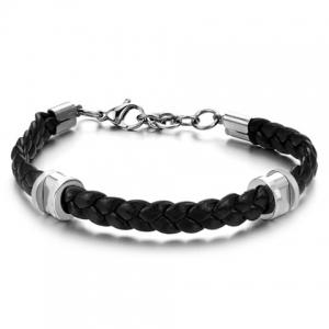 Stylish Leather Braided Link Bracelet For Men