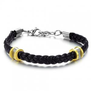 Stylish Leather Braided Link Bracelet For Men - AS THE PICTURE