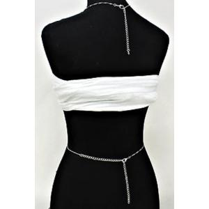 Stylish Silver Rhinestone Body Chain For Women -