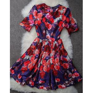 Vintage Jewel Neck Short Sleeves Printed Ball Gown Dress For Women -