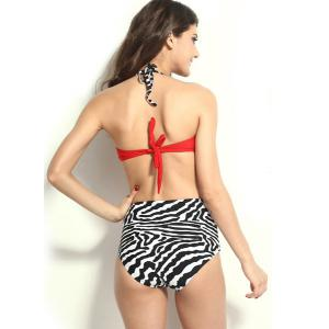 High Waisted Vintage Halterneck Zebra-Stripe Six Buttons Women's Swimsuit -
