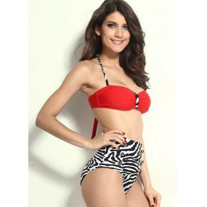 High Waisted Vintage Halterneck Zebra-Stripe Six Buttons Women's Swimsuit - RED S