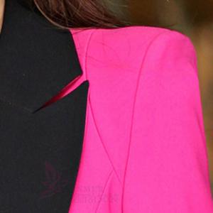 Stylish Lapel Color Splicing One-Button Long Sleeve Women's Blazer -
